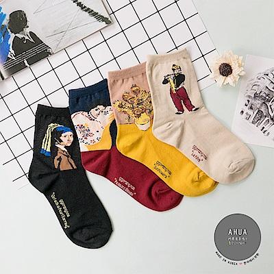 阿華有事嗎 韓國襪子 經典復古名畫中筒襪 韓妞必備長襪 正韓百搭純棉襪