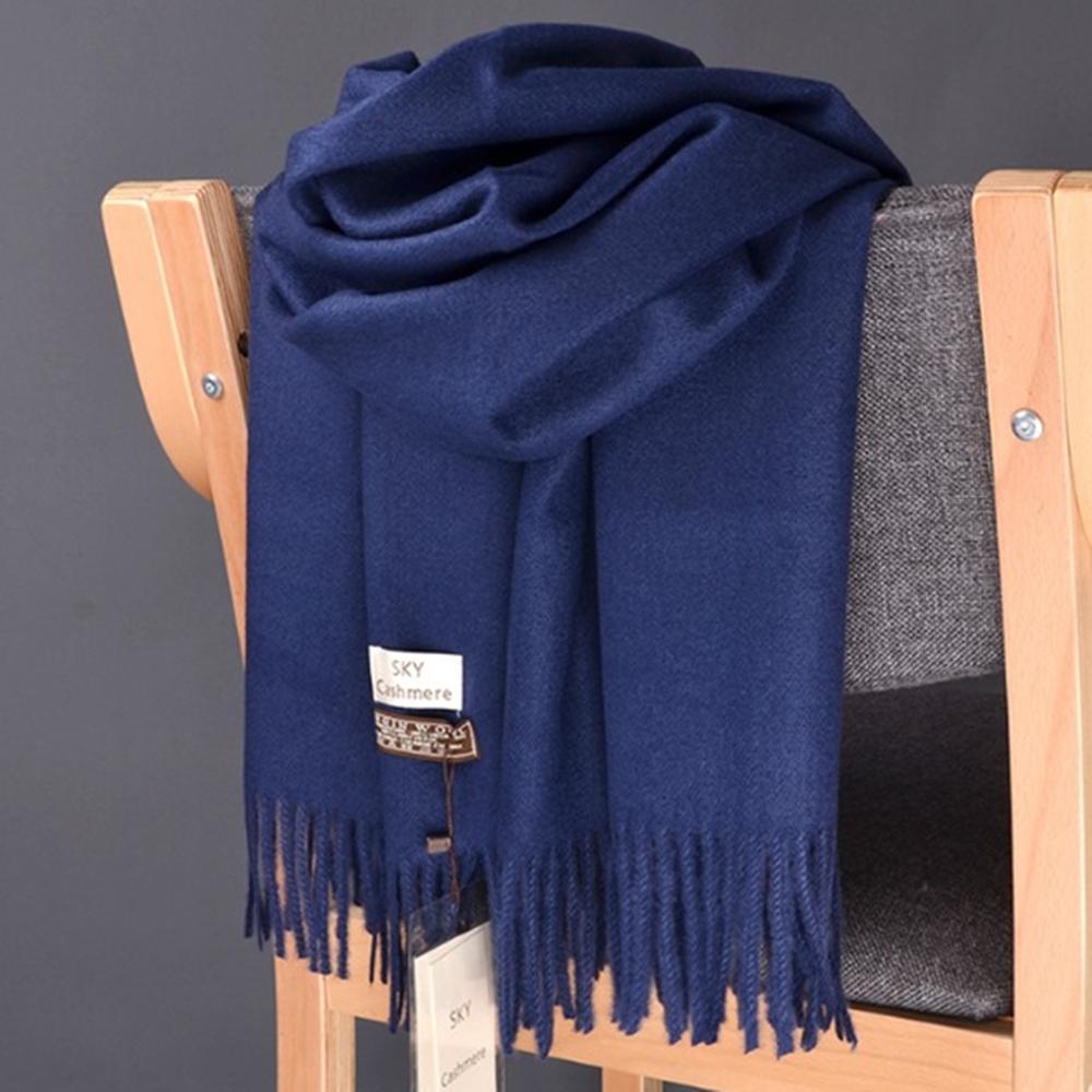 梨花HaNA 冬日極暖手感黃金絨SKY純色系列圍巾-深藍