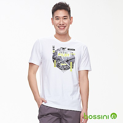bossini男裝-印花短袖T恤24白