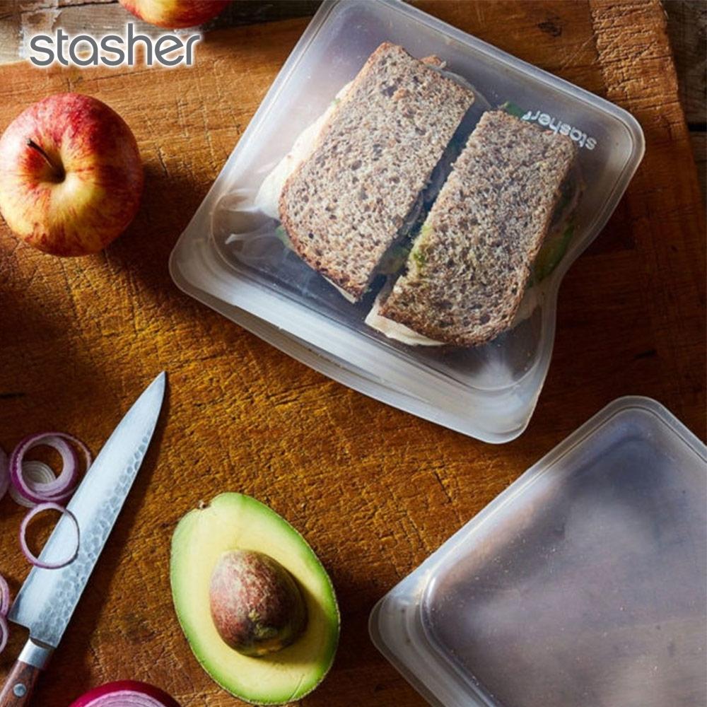美國Stasher 方形環保按壓式矽膠密封袋-珍珠白(快)