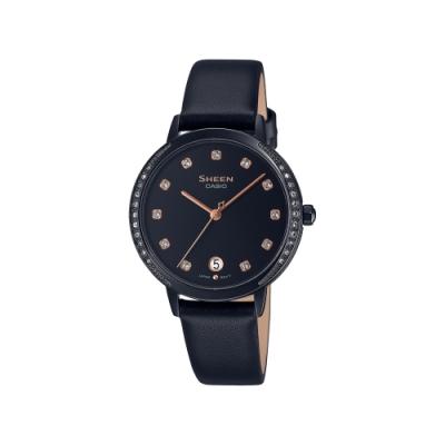 CASIO卡西歐 SHEEN 酷黑時尚 水晶點綴 真皮錶帶 SHE-4056BL-1A_32mm
