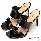 ALDO 原色寬窄相間一字鏤空細高跟涼拖鞋~尊爵黑色