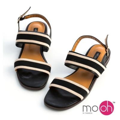 mo-oh-一字帶搭扣帆布平底涼鞋-黑色