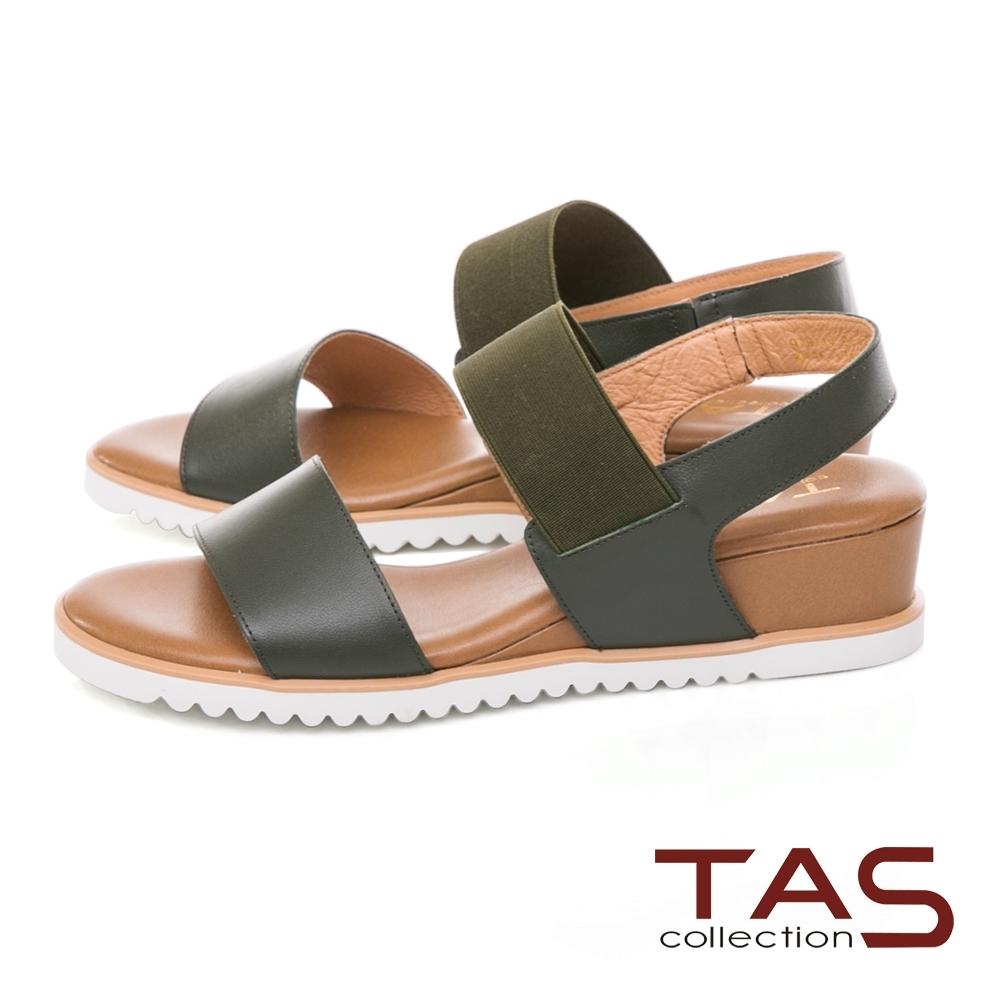 TAS 一字寬版繫帶素面羊皮內增高涼鞋-森墨綠