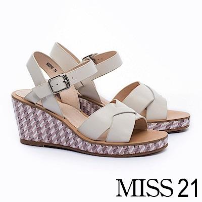 涼鞋 MISS 21 純色民族草編風真皮楔型涼鞋-米