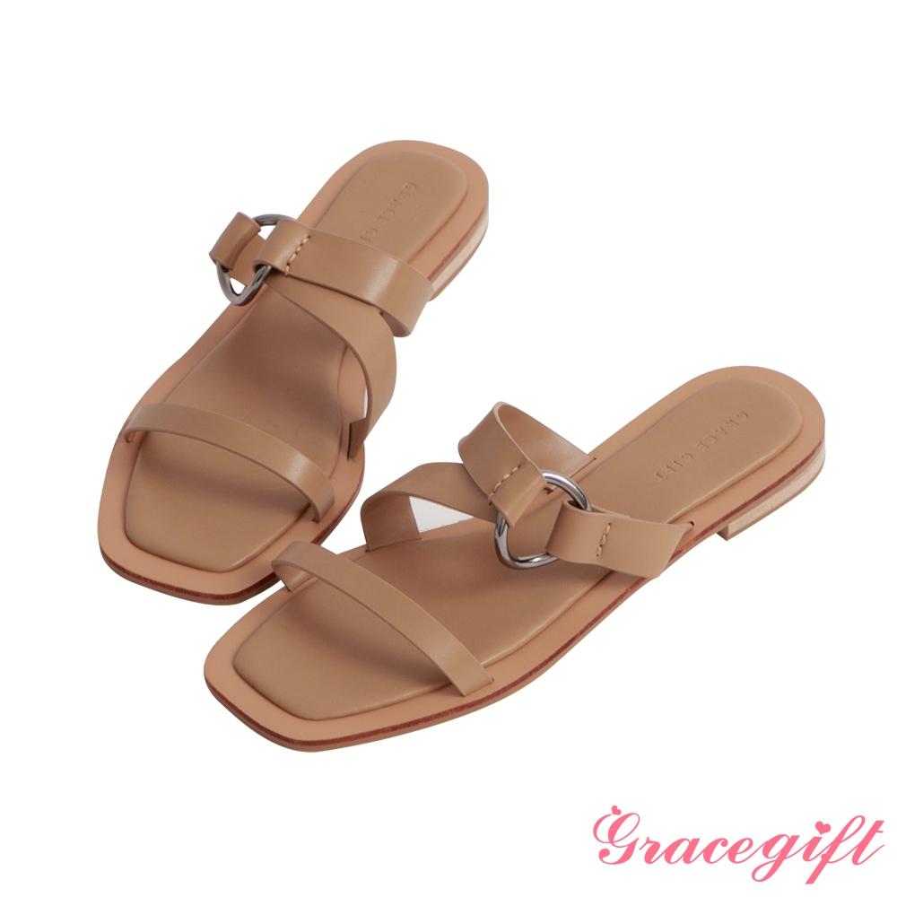 Grace gift-寬帶層次平底涼拖鞋 棕