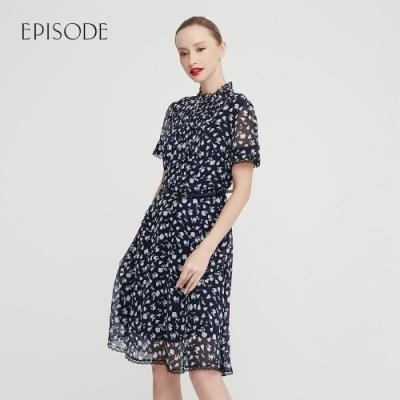 EPISODE - 藍色浪漫印花立領收腰短袖洋裝