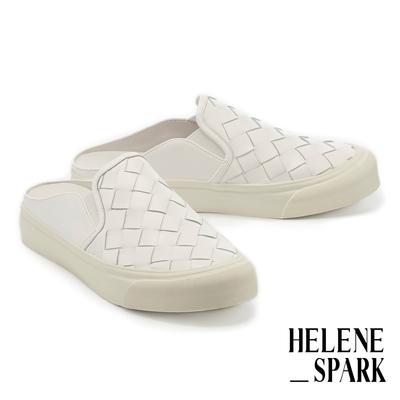 拖鞋 HELENE SPARK 率性日常全真皮編織厚底休閒拖鞋-白