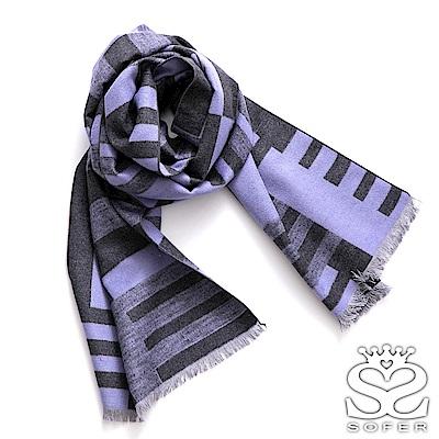 SOFER 馬賽克紋100%蠶絲圍巾 - 淺紫