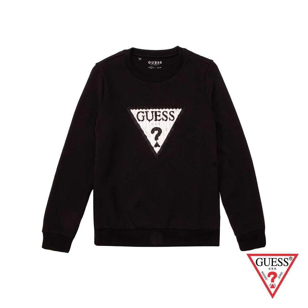 GUESS-女裝-經典刺繡LOGO長袖上衣-黑 原價2990