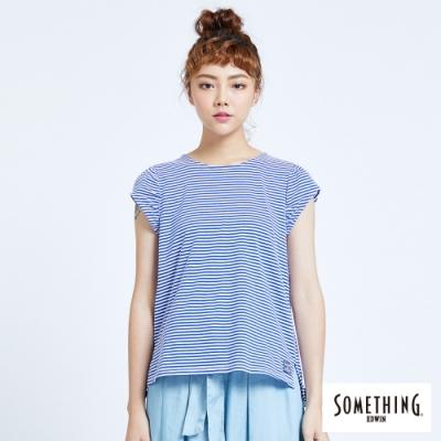 SOMETHING 細條抽皺 短袖T恤-女-藍色