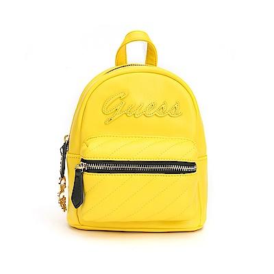 GUESS-女包-撞色拼接小型後背包-黃