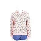 MOSCHINO 滿版泰迪熊印花粉色棉質連帽外套