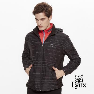 【Lynx Golf】男款防潑水3M反光紗材質可拆式帽子長袖薄外套-黑色