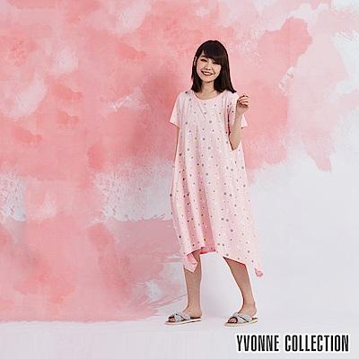YVONNE 小花圓領短袖洋裝-淺粉