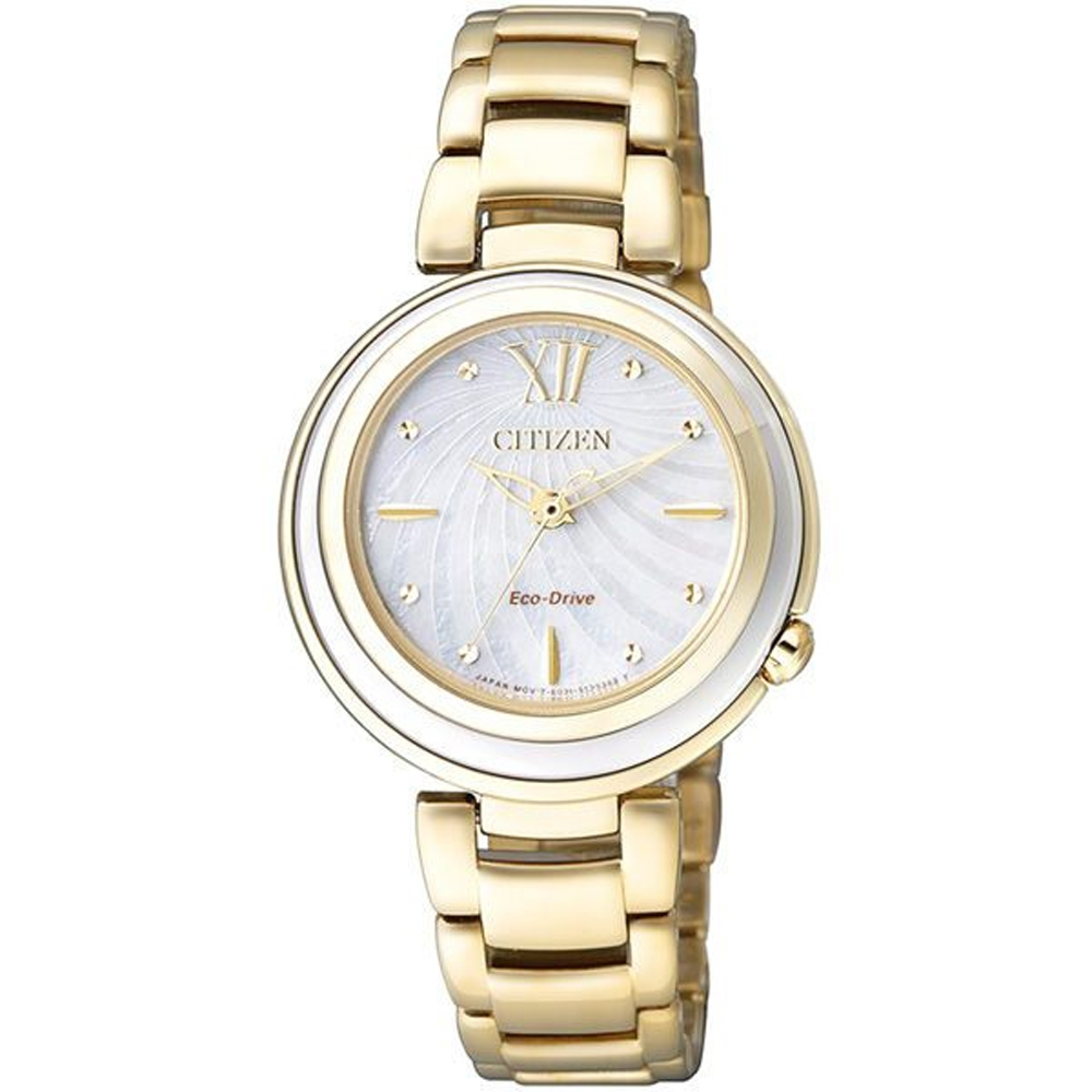 CITIZEN星辰L 耀眼金沙 優雅光動能腕錶(EM0336-59D)玫瑰金