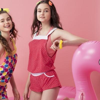 沙兒斯 泳裝 繁星點點艷麗紅粉連身式外罩衣