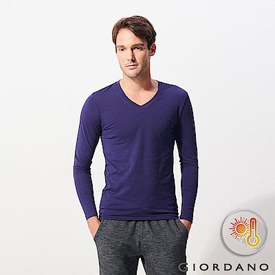 GIORDANO 男裝Beau-warmer plus+彈力V領極暖衣-61 藍色