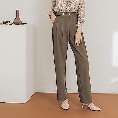 純色不易皺英倫風雙釦腰頭打褶寬褲-OB大尺碼