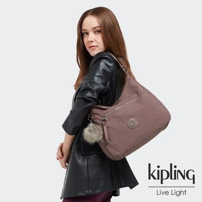 Kipling 微醺可可織紋閃閃都會辦公肩背包-TORVI