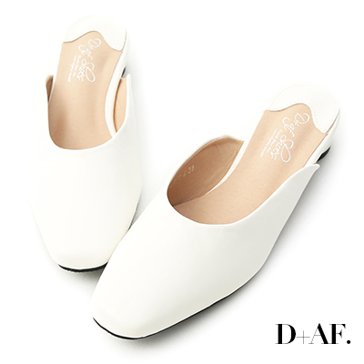 D+AF 質感品味.素面方頭圓跟穆勒鞋*白