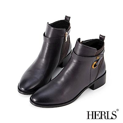 HERLS 聰明俐落 麂皮拼接繫帶釦環低跟短靴-灰藍色