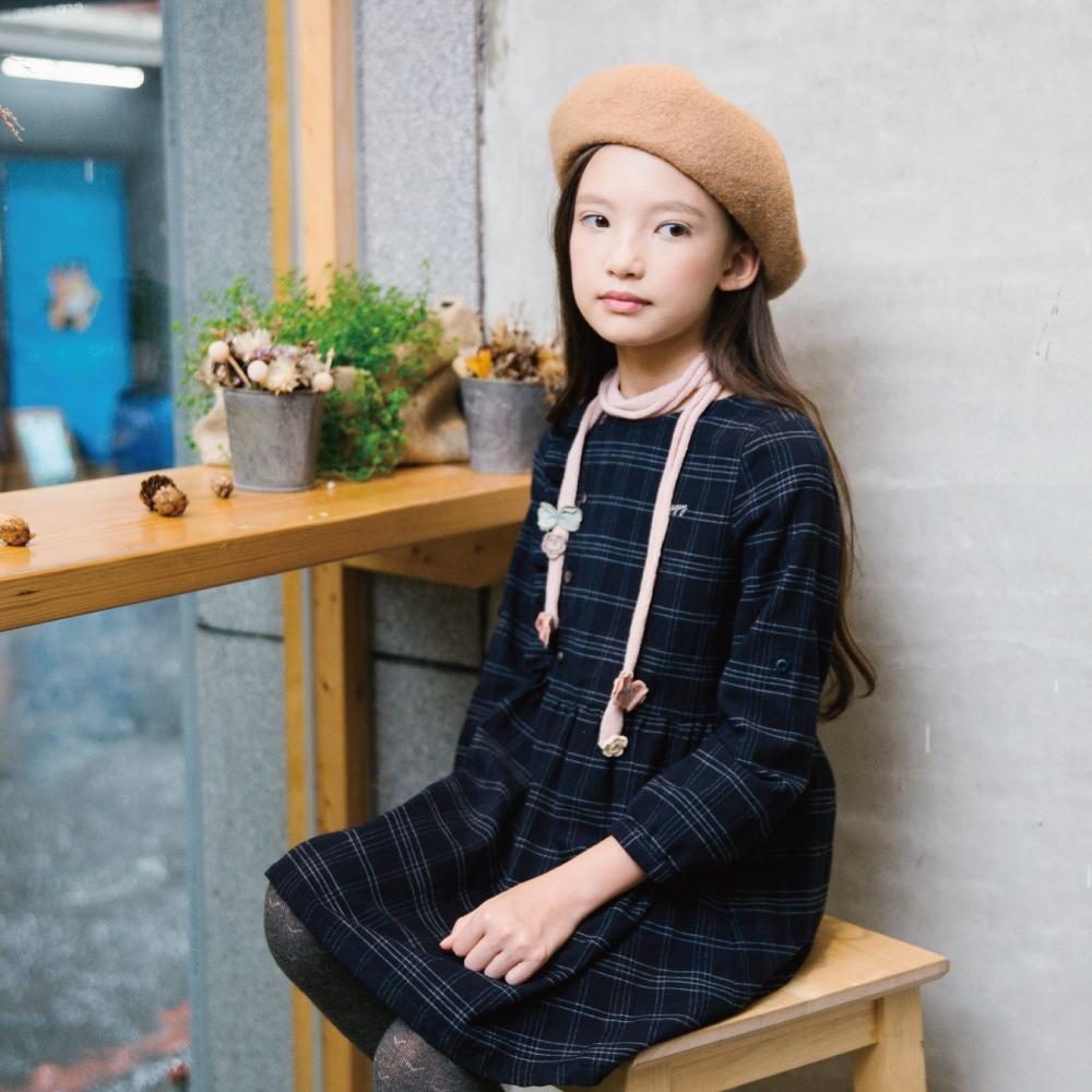 PIPPY 優雅格紋洋裝 丈青