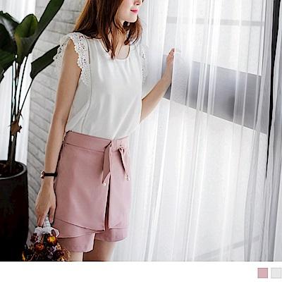 質感純色蝴蝶結綴珍珠造型腰圍鬆緊片裙設計短褲.2色-OB大尺碼
