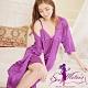 睡衣 全尺碼 洞花冰絲V領細肩帶裙+睡袍二件式睡衣組(浪漫深紫) Sexy Meteor product thumbnail 1