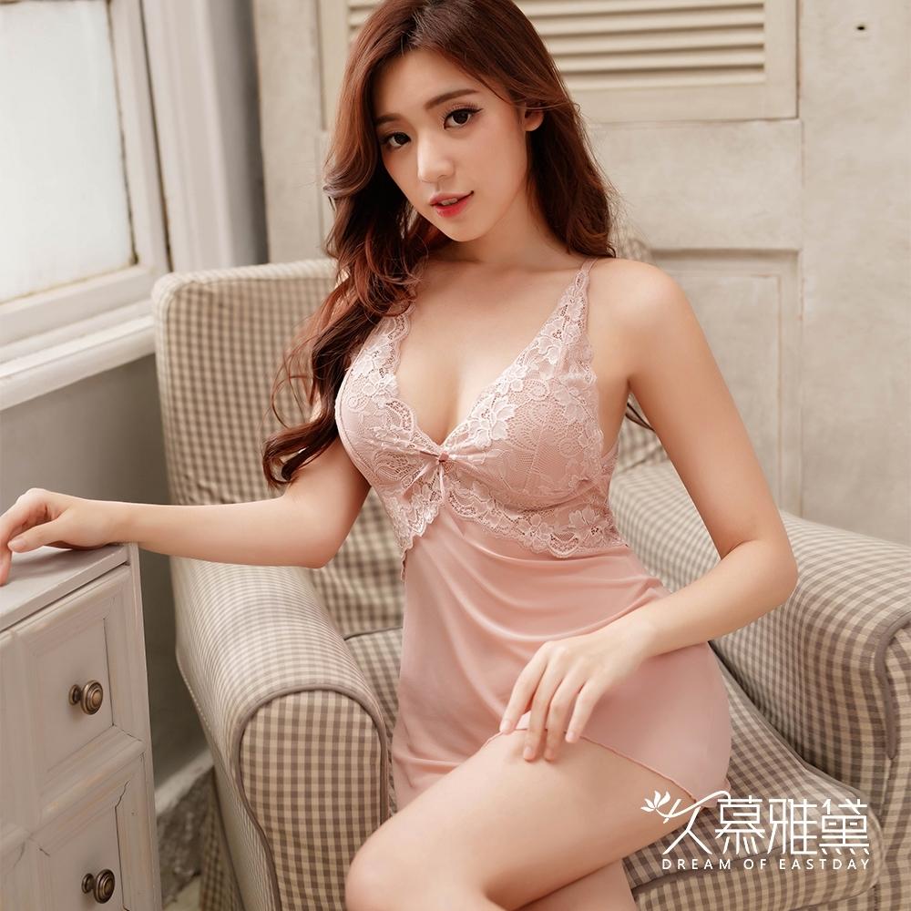 性感睡衣 甜美誘惑浪漫蕾絲吊帶裙。膚色  久慕雅黛