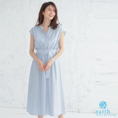 earth music 直條紋拼接腰帶連身洋裝