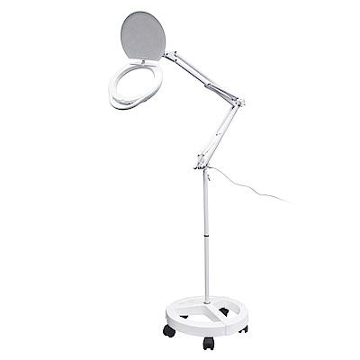 【Hamlet】1.8x/3D 大鏡面雙色溫LED調光護眼檯燈放大鏡 輪架式 E080-R