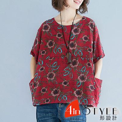 圓領復古風格印花造型上衣 (共二色)-4inSTYLE形設計