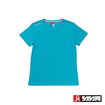 SASAKI 抗紫外線速乾吸排功能休閒圓領短衫-女-孔雀藍/艷桔