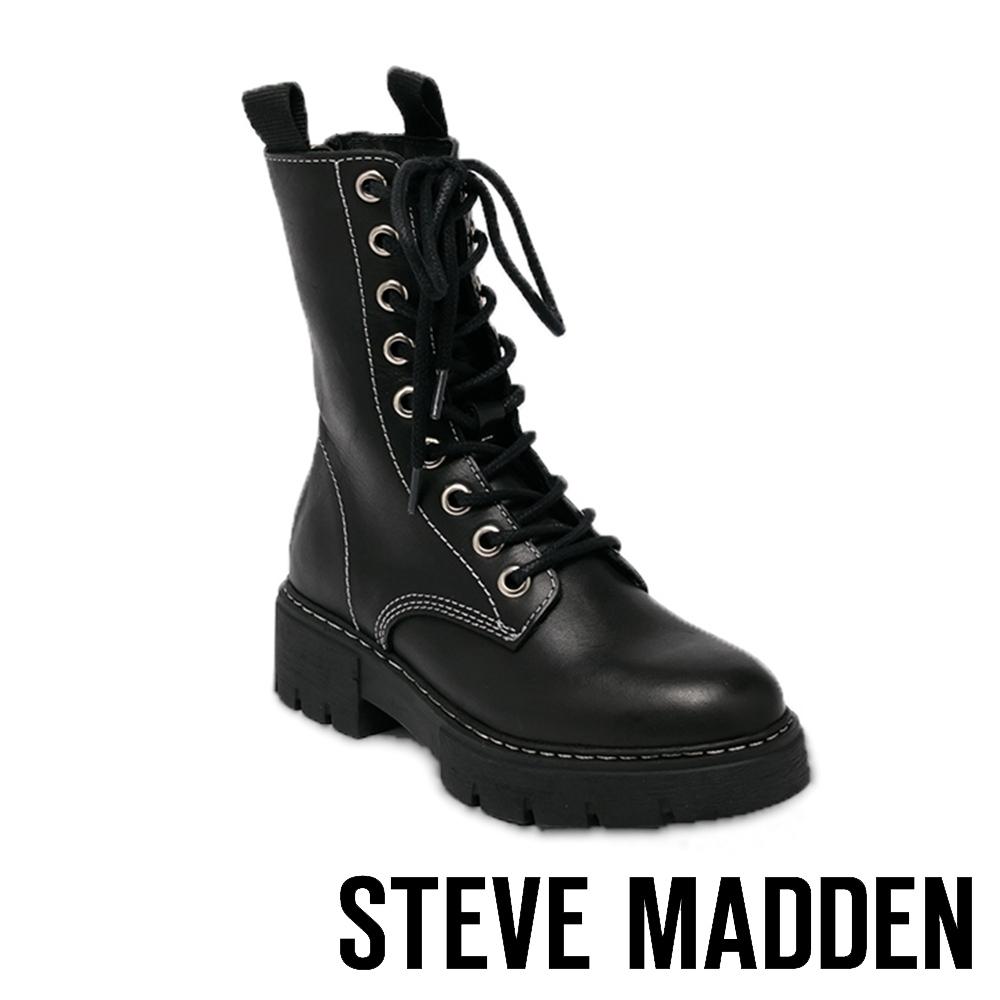 STEVE MADDEN-KANYON 個性款 經典綁帶厚底馬汀靴-黑色