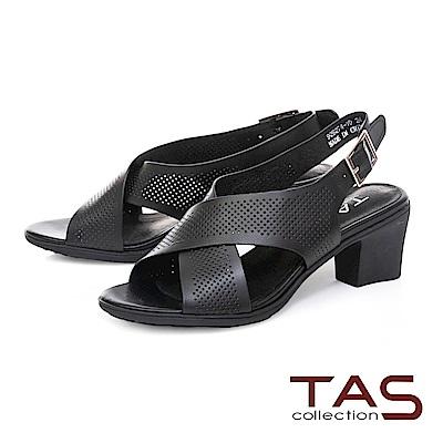 TAS 素面交叉沖孔繫帶粗跟涼鞋-經典黑