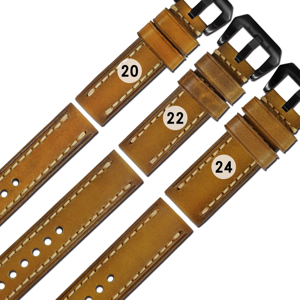 Watchband / 各品牌通用 百搭款 柔軟舒適 油蠟牛皮錶帶 - 橘黃色