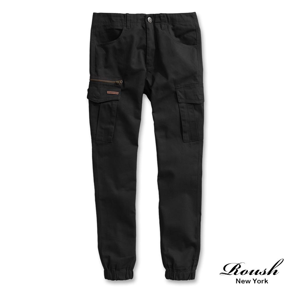 Roush 銅牌側拉鍊工裝縮口褲(3色)