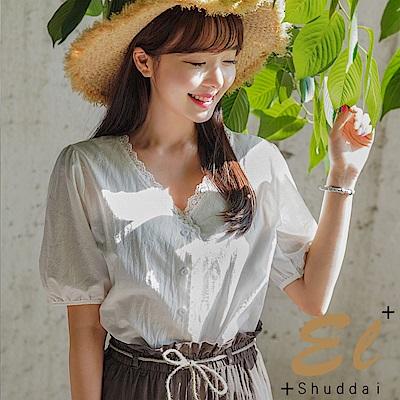 正韓 甜美花邊蕾絲公主袖衫-(共二色)El Shuddai