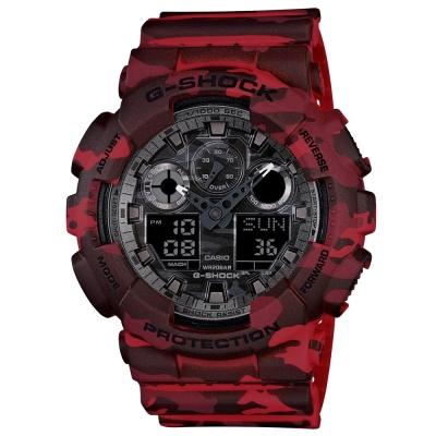 G-SHOCK秋冬時尚魅力迷彩新色休閒運動錶GA-100CM-4A-紅X黑灰51.2mm