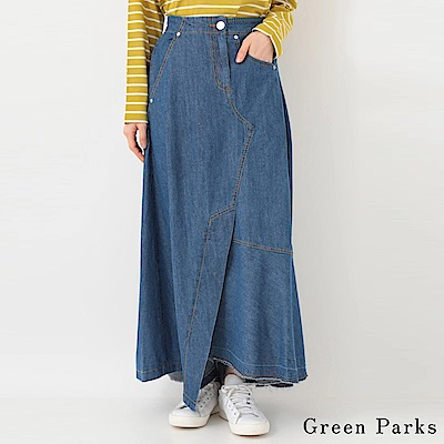 Green Parks 不對稱拼接設計牛仔長裙