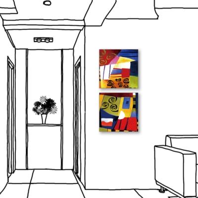24mama掛畫-二聯式 藝術抽象 油畫風無框畫 30X30cm-耶誕節的心情