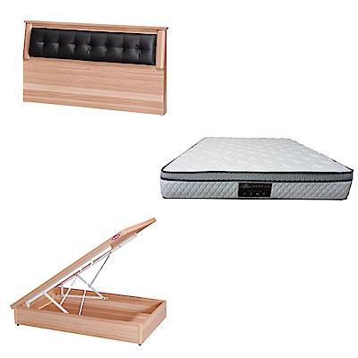 綠活居 亞凱3.5尺單人床台三式組合(床頭片+後掀床底+正三線防蹣獨立筒)五色可選