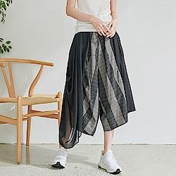 慢 生活 設計師網紗不規則拼接寬口褲- 黑