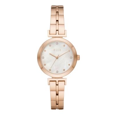 ELLE  ODEON系列晶鑽貝殼面腕錶-白X玫瑰金(ELL21008)
