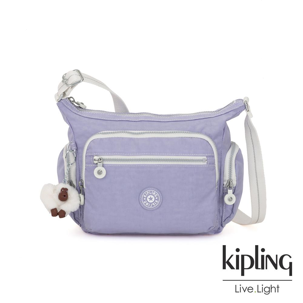 Kipling 法式丁香紫多袋實用側背包-GABBIE S