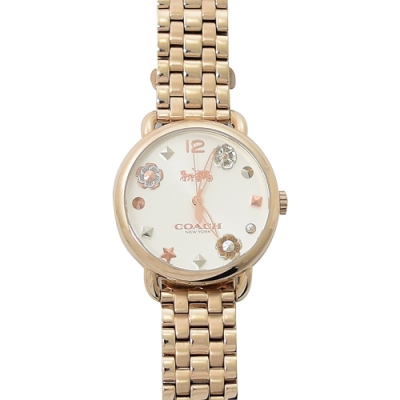 COACH 簡約款LOGO立體小花朵裝飾鍊帶手錶(玫瑰金色)