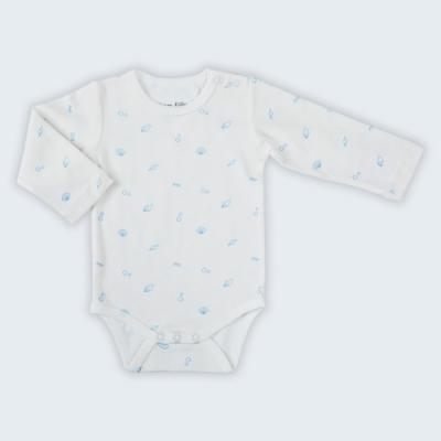 【Deux Filles有機棉】藍色貝殼長袖包屁衣