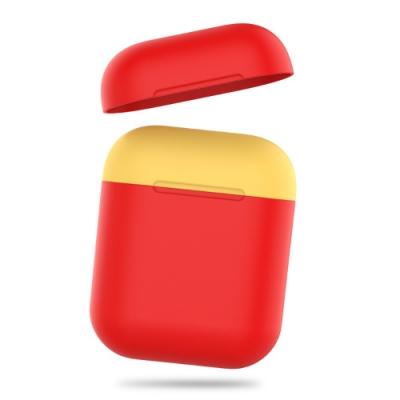 AHAStyle AirPods 1&2代 矽膠保護套 紅色+黃色上蓋