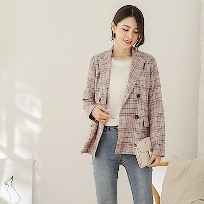 韓系高含棉配色內裡格紋西裝外套-OB大尺碼